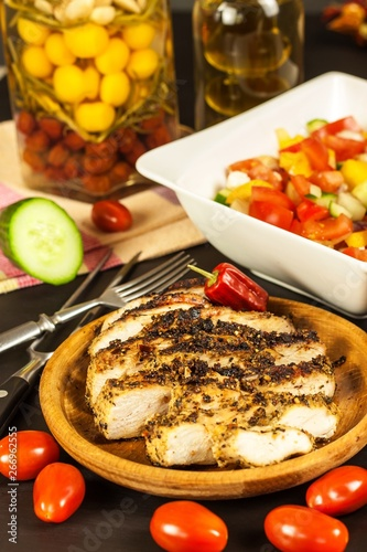 Keuken foto achterwand Assortiment Grilled chicken steak with vegetables. Chilli peppers marinade. Healthy food. Food for athletes.