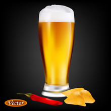 Realistic Glass Of Beer And Ch...