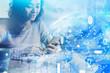 Leinwandbild Motiv Asian woman with phone, digital Earth hologram
