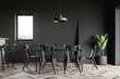 canvas print picture - Black dining room and kitchen interior