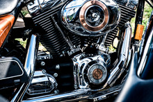 Shiny Chrome Motorcycle Engine Block