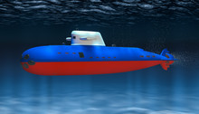 Submarine Of Russian Federation Navy, Concept. 3D Rendering
