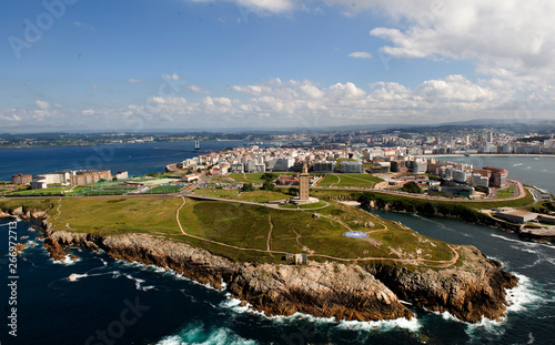 panoramic view of the hercules togaliciawer in la coruña
