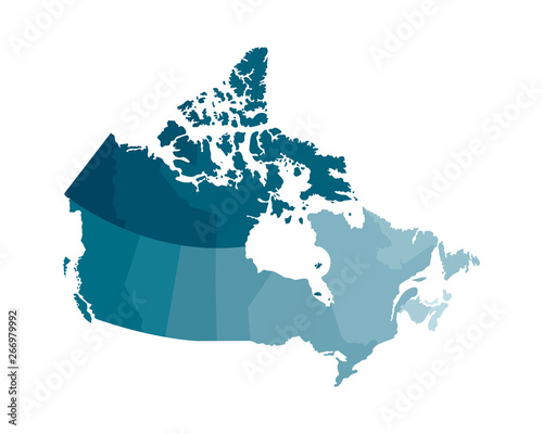 Vector isolated illustration of simplified administrative map of Canada. Borders of the regions. Colorful blue khaki silhouettes Fototapete