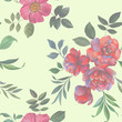 Seamless watercolor flowers pattern. Hand painted peony flowers. Flowers and leaves for design. Seamless floral pattern. Flower arrangement for design.