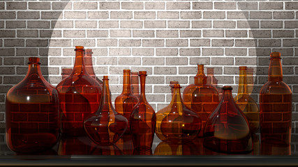 Glass vessels on the shelf,...