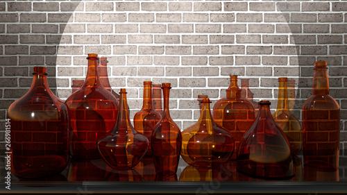Glass vessels on the shelf,...