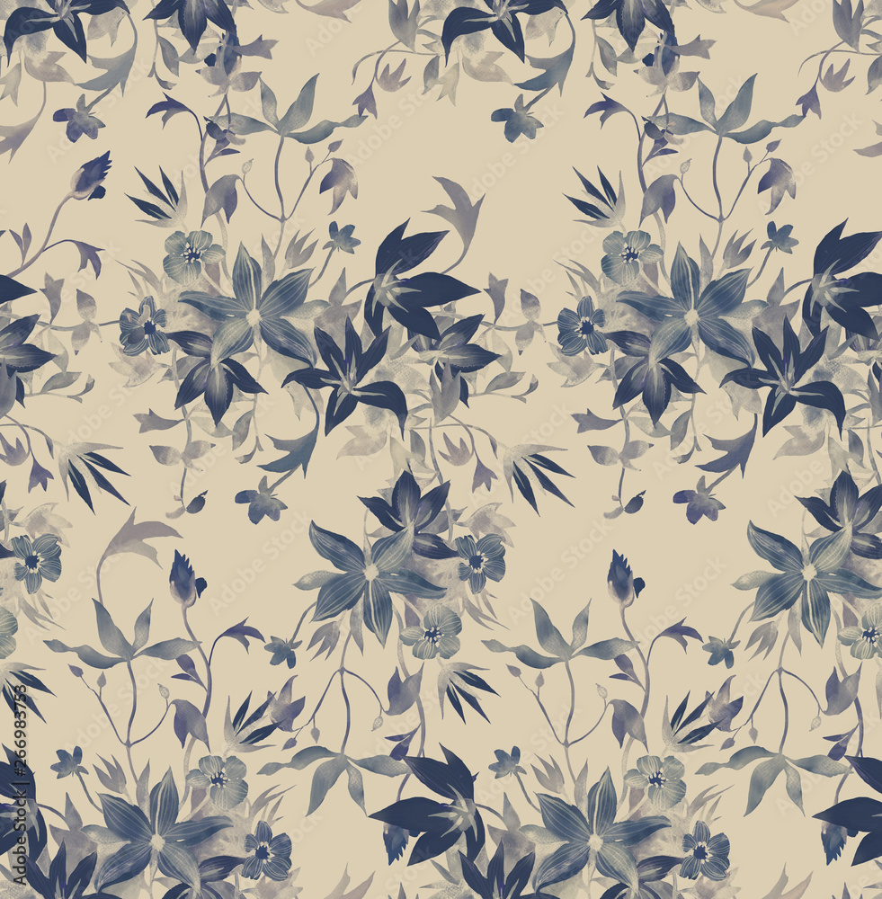 Fotografiet Seamless floral pattern with abstract garden flowers