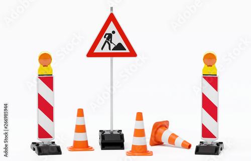 Foto Baustelle Absperrung - 2 Warnbaken mit Leuchte, Fußplatte, Verkehrshütchen und S