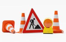 Baustelle Warnung - Bakenleuchte Baustellenleuchte Gehäuse Gelb - Glas Orange Mit Schild Baustelle Und Mehreren Verkehrshütchen - Freigestellt