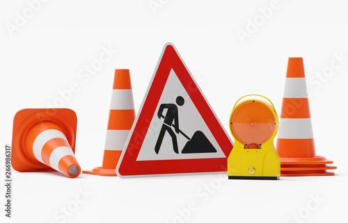 Baustelle Warnung - Bakenleuchte Baustellenleuchte Gehäuse gelb - Glas orange mi Wallpaper Mural