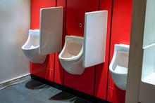 Waterless Urinals At Men Restroom.