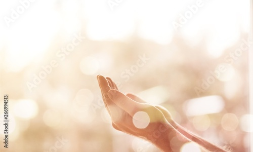 Carta da parati Empty female hands on blurred background