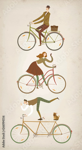 Funny lady and gentleman cyclists set. Wallpaper Mural