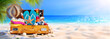 canvas print picture - Full Suitcase With Accessories On Tropical Beach