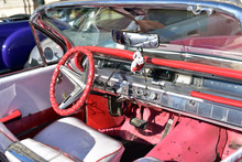 Interior Of A Red Vintage Car ...
