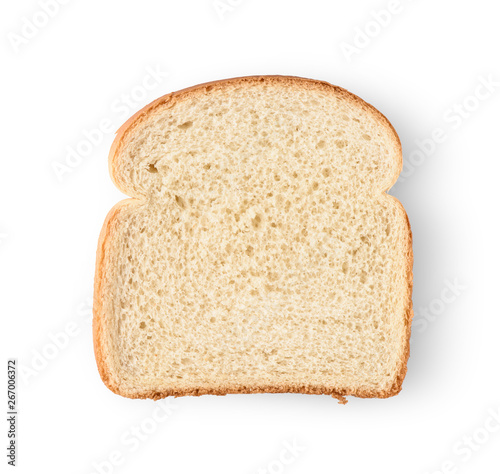 Foto One slice of bread isolated on white background.