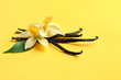 Leinwandbild Motiv Vanilla sticks and flowers on yellow background. Space for text