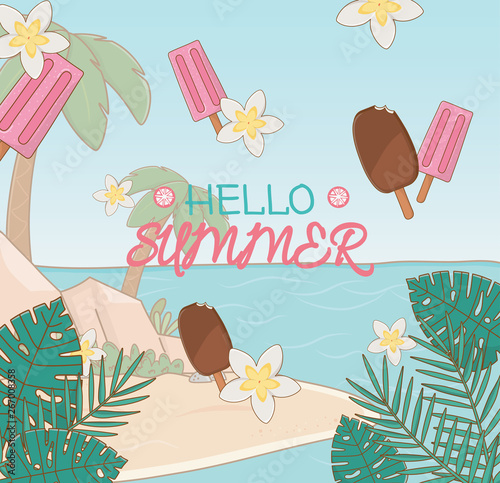 Fototapety, obrazy: hello summer poster with ice creams and beach scene