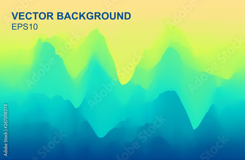 Türaufkleber Reef grun Foggy Peaks - Vector Mountains Landscape Illustration