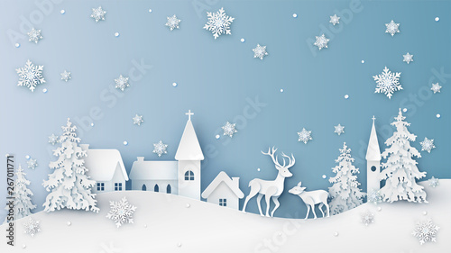 Winter landscape of snowy countryside and deer. Merry Christmas and Happy New Year. paper cut and craft design. vector, illustration.