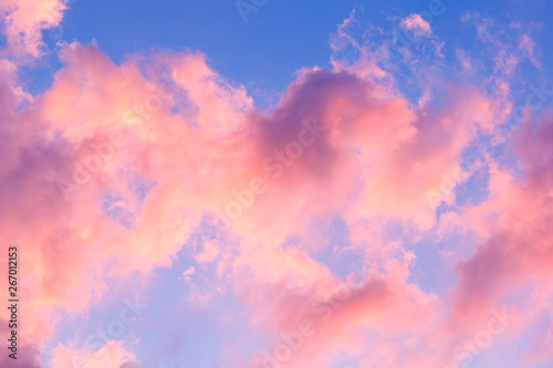 Foto auf Gartenposter Rosa hell Blue sky clouds, background of purple sunset sky.