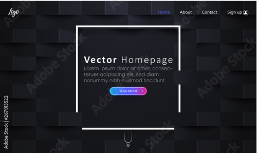 Black web homepage template with icons and abstract