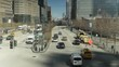 NYC street view from top down. Stoplight by 9/11 memorial. Sunny day aerial.