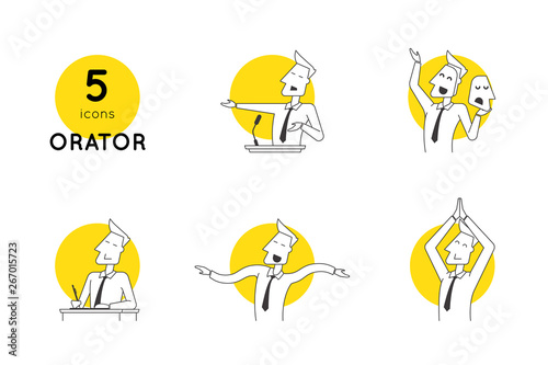 Fotomural Perfect line speaker icons in various poses and manifestations of oratory professional skills
