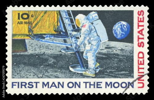 UNITED STATES - CIRCA 1969: A stamp printed in USA shows Neil Armstrong, first s Canvas Print