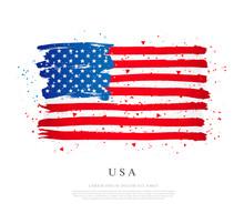 USA Flag. Vector Illustration On White Background. Brush Strokes