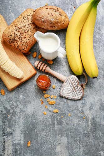 Keuken foto achterwand Assortiment Tasty and healthy breakfast. Variety of food