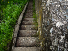 An Old Grey Stone Staircase. W...
