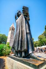 Split, Croatia - Jul 11, 2017: Statue Of Gregorius Of Nin And The Chapel Of Arnir In The Old Town Of Split, Dalmatian Coast, Croatia.