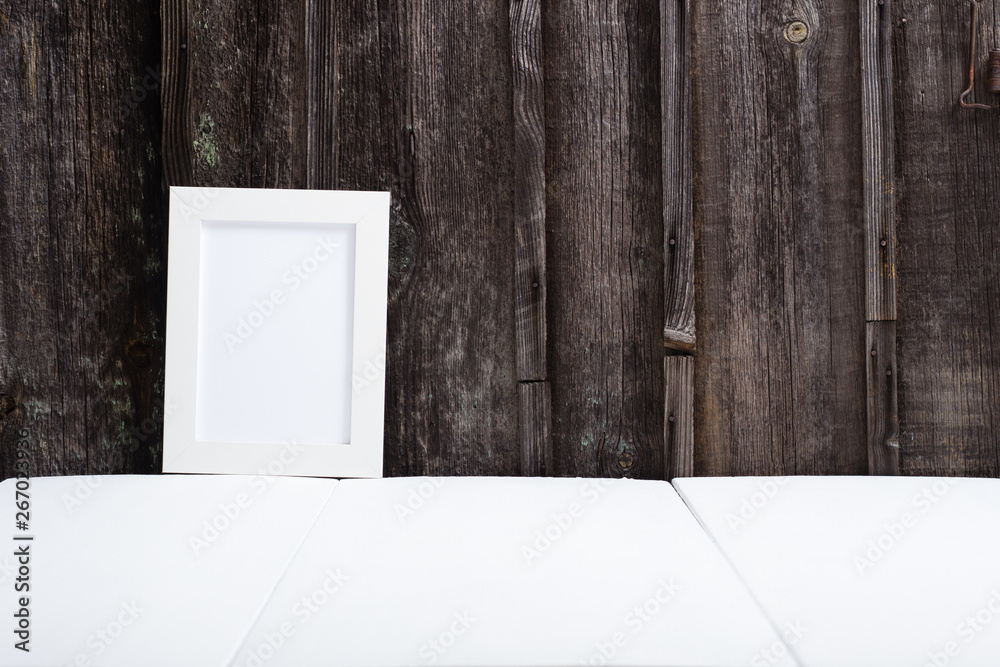 Fototapety, obrazy: white picture frame, white table, old wooden wall