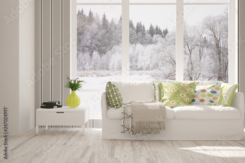 Poster Vegetal Stylish room in white color with sofa and winter landscape in window. Scandinavian interior design. 3D illustration