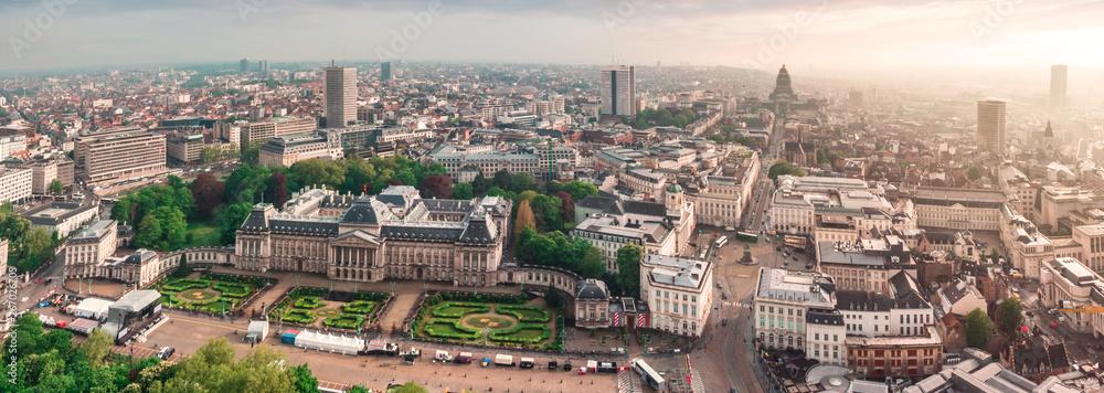 Fototapeta Panoramic aerial view of the Royal Palace Brussels, Belgium