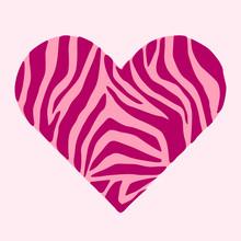 Zebra Skin In Shape Of Heart. ...