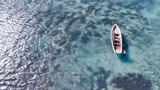 Overhead aerial view of beach and boats - 267029125