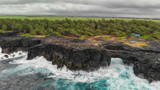Panoramic aerial view of Pont Naturel in Mauritius. This is a natural bridge over the water - 267029503
