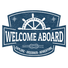 Welcome Aboard Sign Or Stamp
