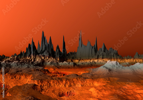 Garden Poster Red 3D Rendered Red Desert Landscape - 3D Illustration