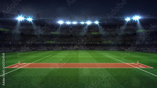 Fotomural Illuminated round cricket stadium full of fans at night upper side view