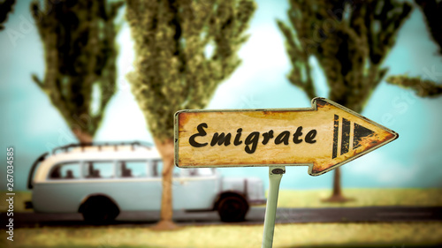 Photo Street Sign to Emigrate