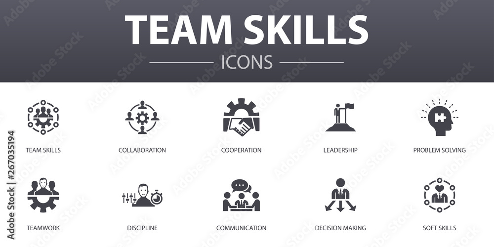 Fototapeta team skills simple concept icons set. Contains such icons as Collaboration, cooperation, teamwork, communication and more, can be used for web, logo, UI/UX