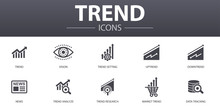 Trend Simple Concept Icons Set. Contains Such Icons As Trend Setting, Uptrend, Downtrend, News And More, Can Be Used For Web, Logo, UI/UX