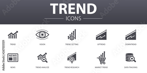 Fototapeta trend simple concept icons set. Contains such icons as trend setting, uptrend, downtrend, news and more, can be used for web, logo, UI/UX obraz