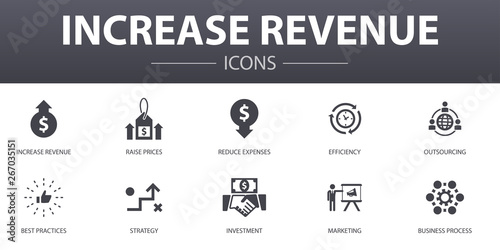 Fotografía increase revenue simple concept icons set