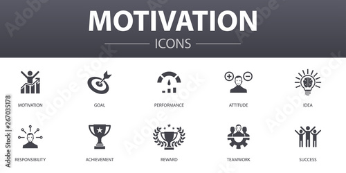 motivation simple concept icons set. Contains such icons as goal, performance, achievement, success and more, can be used for web, logo, UI/UX