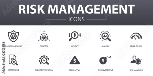 Cuadros en Lienzo risk management simple concept icons set